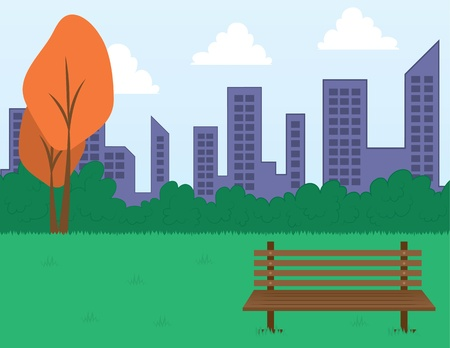 city: Park scene with bench and city skyline