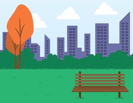 city park skyline: Park scene with bench and city skyline