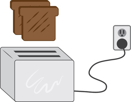 breakfast in bed: Toast popping up from toaster  Illustration