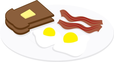 breakfast in bed: Eggs, bacon and toast on a plate  Illustration