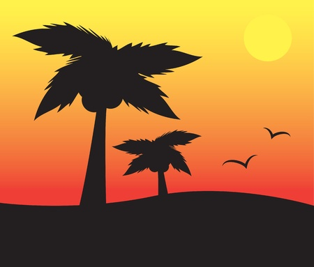 Palm trees silhouette scene with sun and birds  Vector