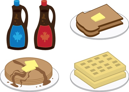 Breakfast foods including waffles, pancakes and toast  Vector