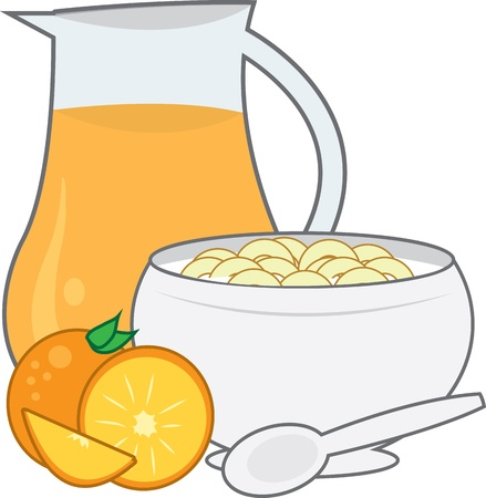 Bowl of cereal with pitcher of orange juice