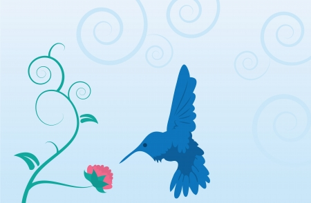 Blue hummingbird and flower on vine with leaves  Иллюстрация