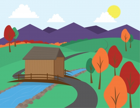 Countryside scene with winding road and mountains Stock Vector - 13621362