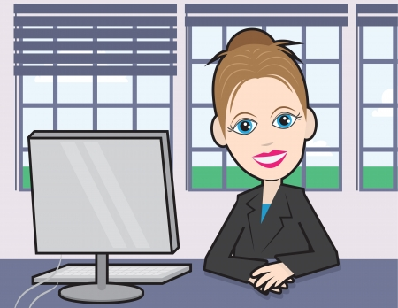 Businesswoman sitting at a desk with computer  Vector