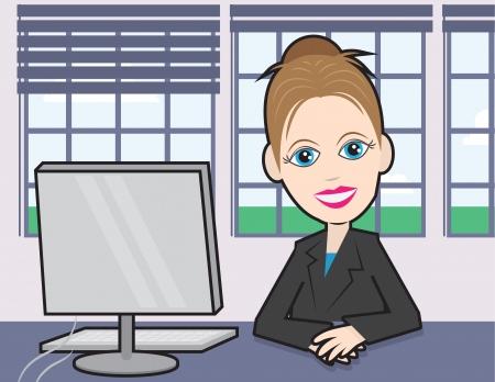 cartoon worker: Empresaria sentado en un escritorio con la computadora