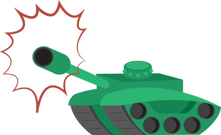 wartime: Isolated green tank shooting  Illustration