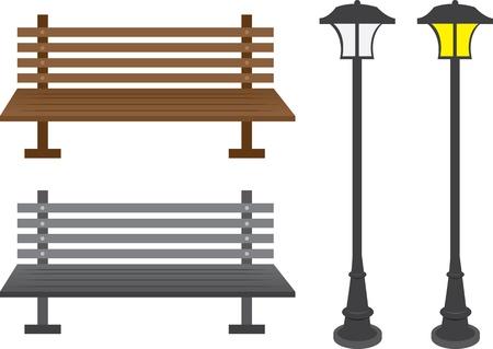 banco parque: Bancos aislados de los parques y postes de luz