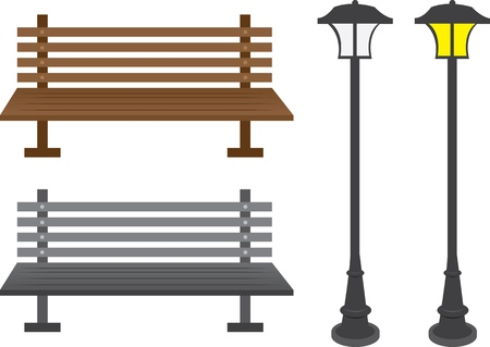 lamp post: Isolated park benches and light posts