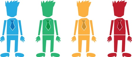 Isolated business workers with ties.  Blue, green, orange and red suits. Stock Vector - 13749469