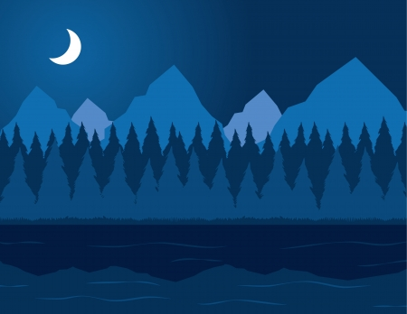 crescent lake: Blue lake scene at night with trees and mountains