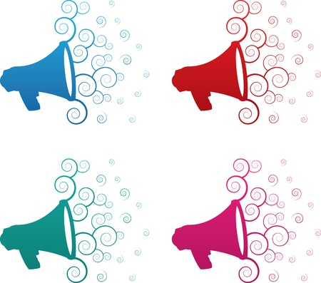 echo: Isolated megaphone spirals colors blue, red, green and pink