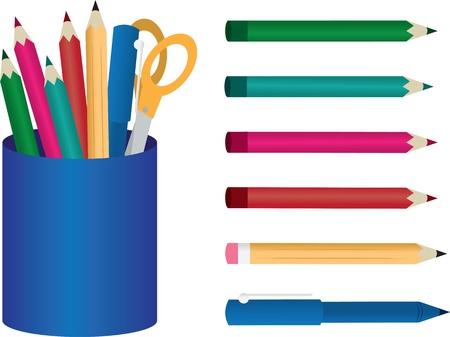 Container with colored pencils, pens and scissors  Vector