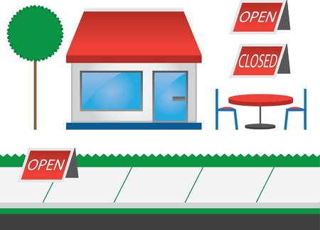 Store shop front with red awning  Vector