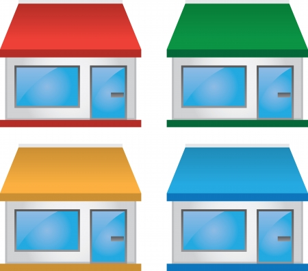 Store shop front various colors  Illustration