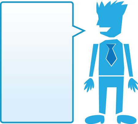 Isolated business man with tie and blue blank speech bubble  Stock Vector - 13862073