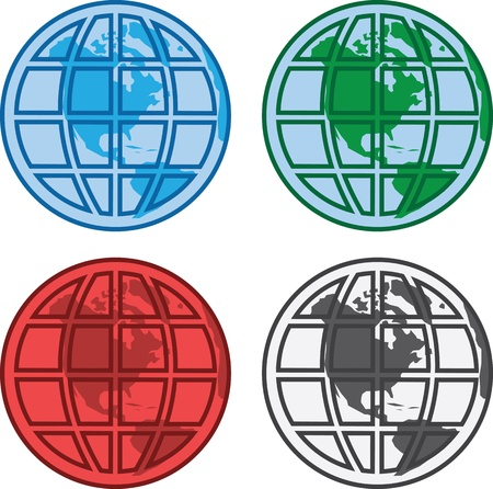 Vaus colored globes with grid overlay  Stock Vector - 13900065