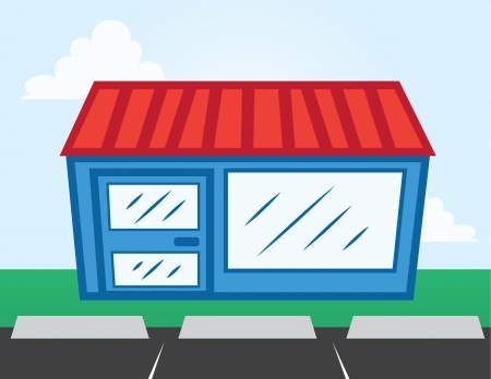 building lot: Business storefront with parking lot  Illustration