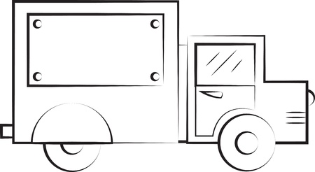delivery truck: Truck outline in black and white