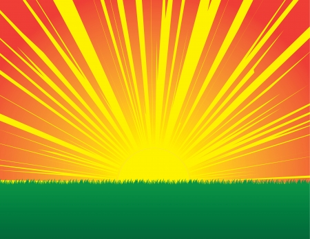 Sunburst sunset in grassy field   Illustration