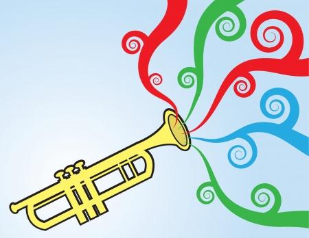 トランペットを演奏するカラフルな音楽が流れる 写真素材 - 14258899