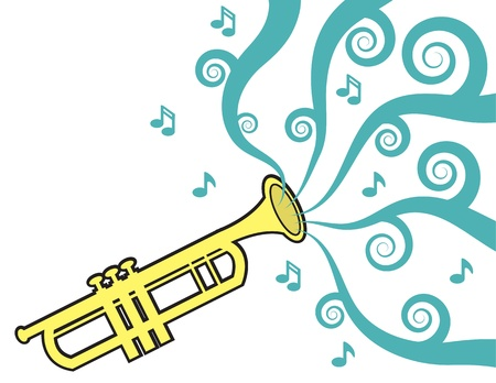 party horn blower: Trumpet playing with music flowing  Illustration