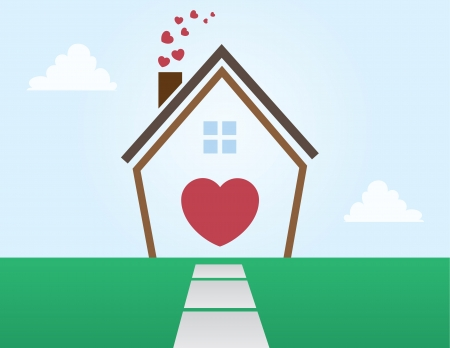 homes: House outline abstract with Hearts  Illustration