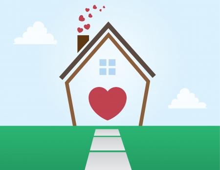 Huis overzicht abstract met Hearts