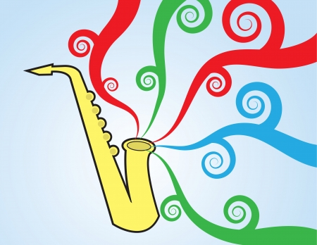 party horn blower: Saxophone playing with colorful music flowing