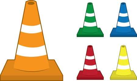 Safety cones in various colors  Vector
