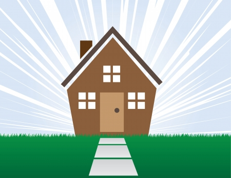 House with rays of light behind Stock Vector - 14316052