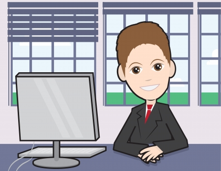 Businessman sitting at a desk with computer  Vector
