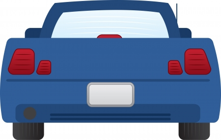 Geïsoleerd achterkant van blauwe auto Stock Illustratie