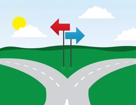Road split left and right directions