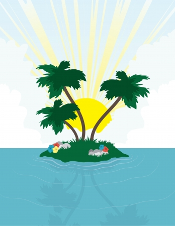Island with palm trees in front of the bright sun