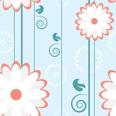 Seamless flower pattern with stems