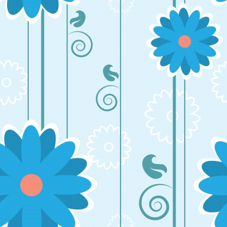 Blue seamless flower pattern with stems  Vector