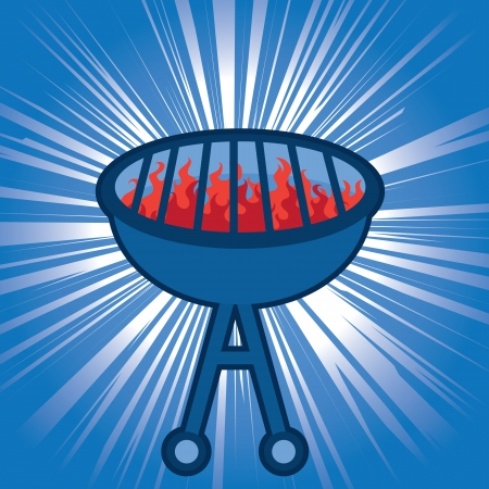 kabob: Blue grill with light shining behind