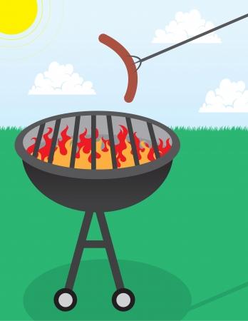 Summer grill scene with hotdog  Vector