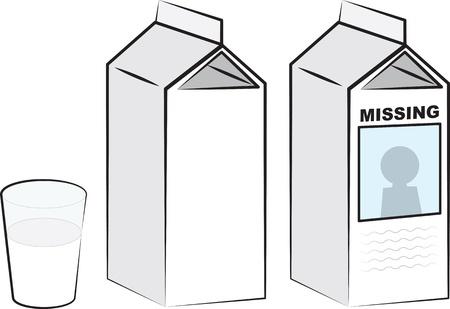 牛乳パック、牛乳のガラス  イラスト・ベクター素材