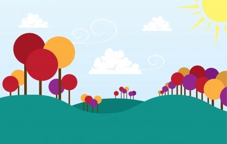 Grassy scene with rolling hills  Illustration