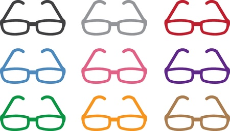 geeky: Plastic framed glasses in various colors