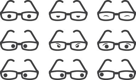 geeky: Plastic framed glasses with various eyed expressions  Illustration