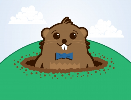 Cartoon groundhog on top of a hill   Vector