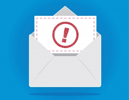 important: Floating open envelope with important letter stamped