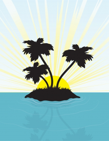 Island in silhouette in front of the bright sun.  Vector