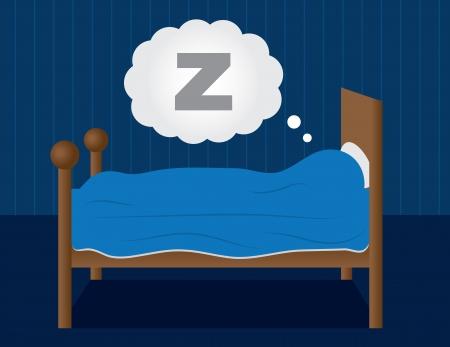 暗い青い部屋で眠っています。