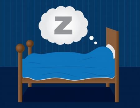 Sleeping in a dark blue room.