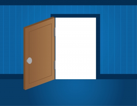 hinges: Blue room with door opening to white space  Illustration